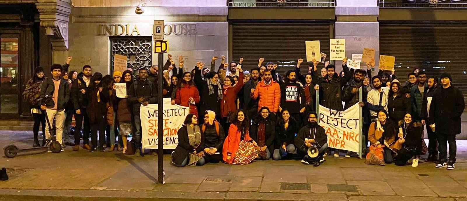 A protest against the Citizenship Amendment Act outside London's India House on January 8.