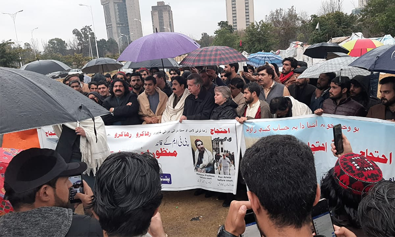 MNAs Ali Wazir and Mohsin Dawar were leading a protest against Manzoor Pashteen's arrest outside the Islamabad Press Club and were joined by a large number of supporters, including politicians Afrasiab Khattak and Bushra Gohar. — Photo provided by Inamullah Khattak