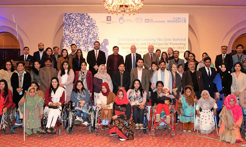 Participants of the dialogue on promoting women's economic empowerment pose for a photo in Islamabad on Tuesday. — Photo courtesy UN Women Pakistan