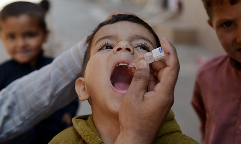 The government is launching a three-day special vaccination campaign on Wednesday to scale up children's immunity in districts, which risked vaccine-derive poliovirus type 2 (VDPV2) after detection of cases a fortnight ago. — AFP/File