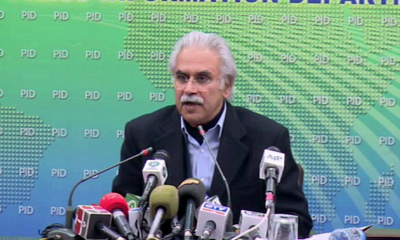 Special Assistant to Prime Minister on Health Dr Zafar Mirza addressing a press conference on Wednesday. — DawnNewsTV