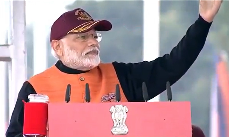 "Wearing a maroon National Cadet Corps baseball cap at the event in the capital, PM Narendra Modi said India's new prowess was thanks to what he called ""youthful thinking"". — Photo courtesy screengrab from Modi's Twitter account"