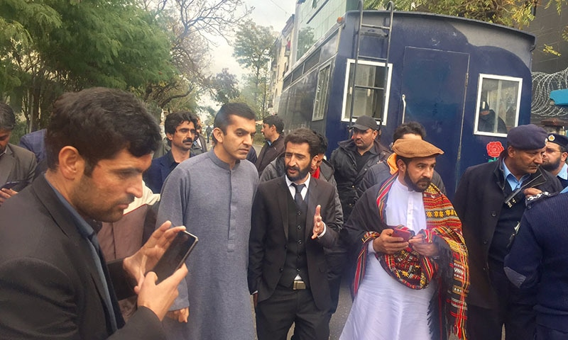 MNA Mohsin Dawar arrives at  local court in Islamabad on Wednesday where 23 individuals were sent to Adiala Jail following their arrest. — Photo courtesy Rahim Dawar Twitter