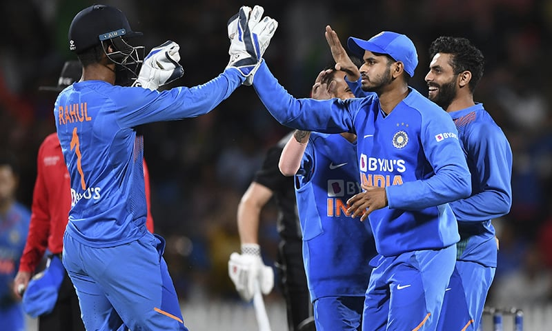 India players celebrate the wicket of Munro stumped by KL Rahul during the Twenty/20 cricket international between India and New Zealand in Hamilton, New Zealand on January 29, 2020. — AP