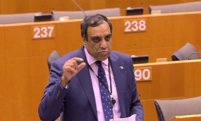 British-Pakistani MEP Shaffaq Mohammed at the debate on Wednesday. — Screenshot from EU Parliament website