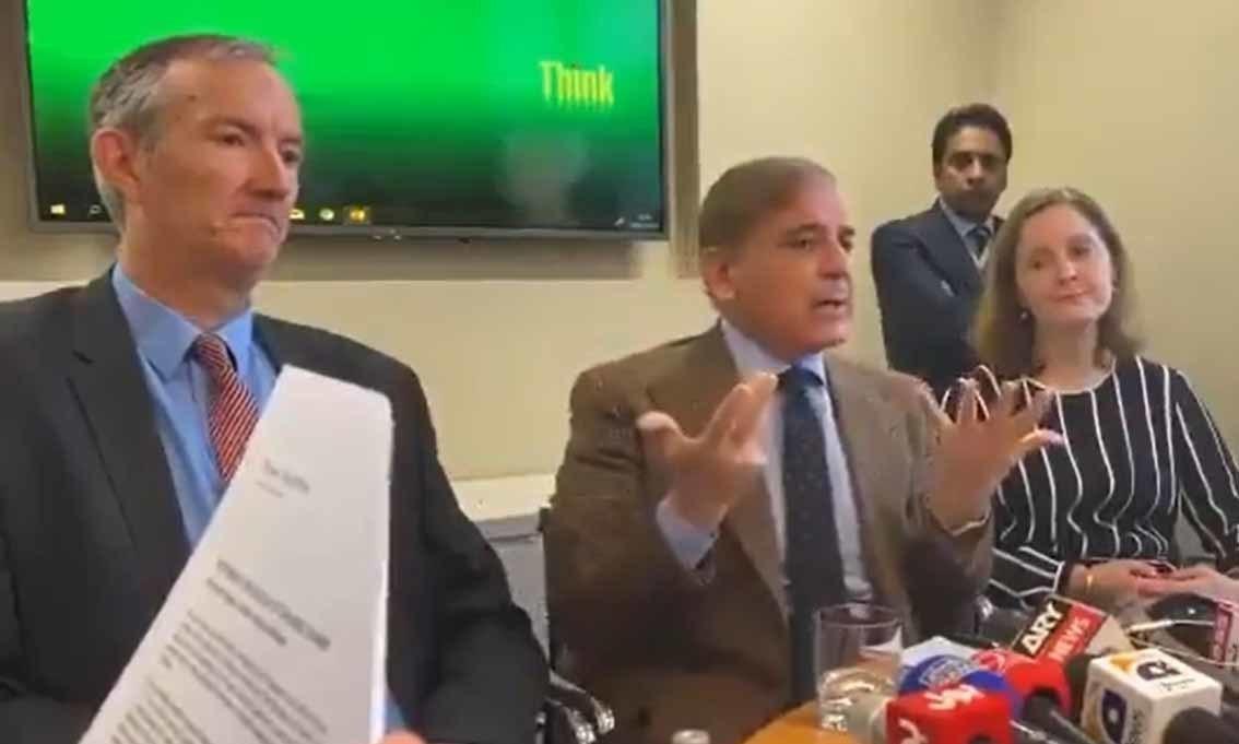 PML-N President Shehbaz Sharif addresses press conference in London on Thursday.  — DawnNewsTv