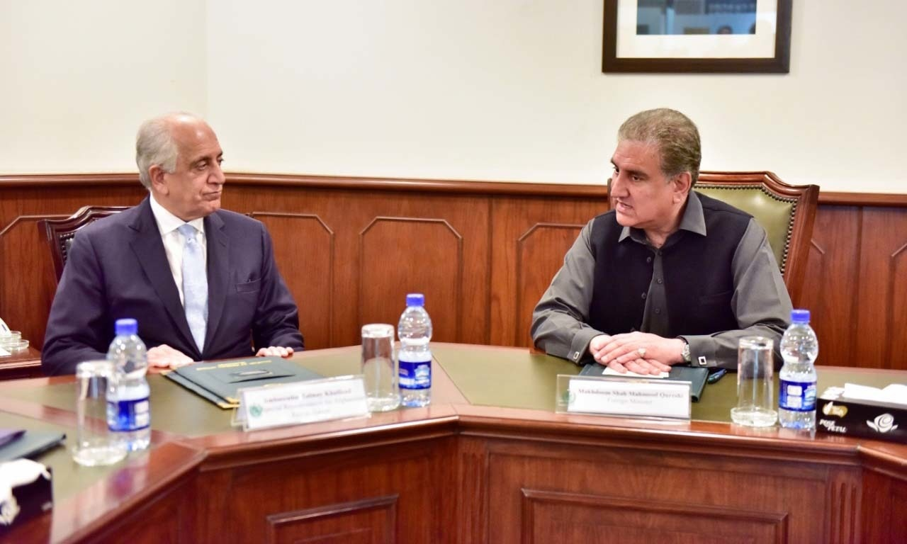 US Special Envoy for Afghan Reconciliation Zalmay Khalilzad in a meeting with Minister for Foreign Affairs Shah Mahmood Qureshi on Friday. — Photo provided by Foreign Office