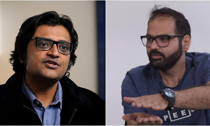 Republic TV anchor Arnab Goswami and comedian Kunal Kamra. — AFP, Kunal Kamra via YouTube