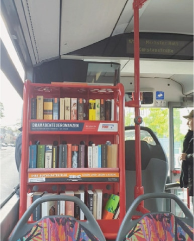 Library on a public bus