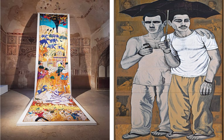 Hand-embroidered installation at the Lahore Fort, Khadim Ali / Temporary Situations I, Anwar Saeed