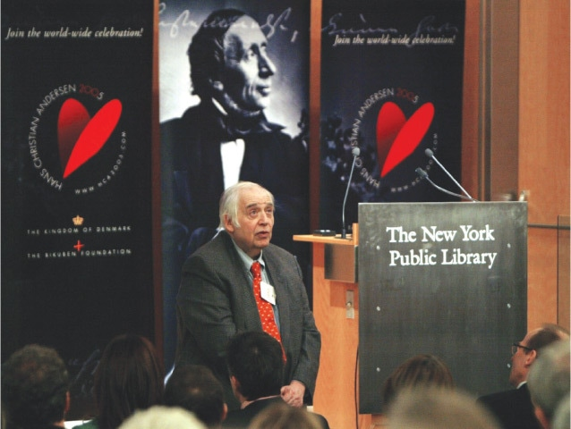 Harold Bloom speaking at the New York Public Library in 2005   AP