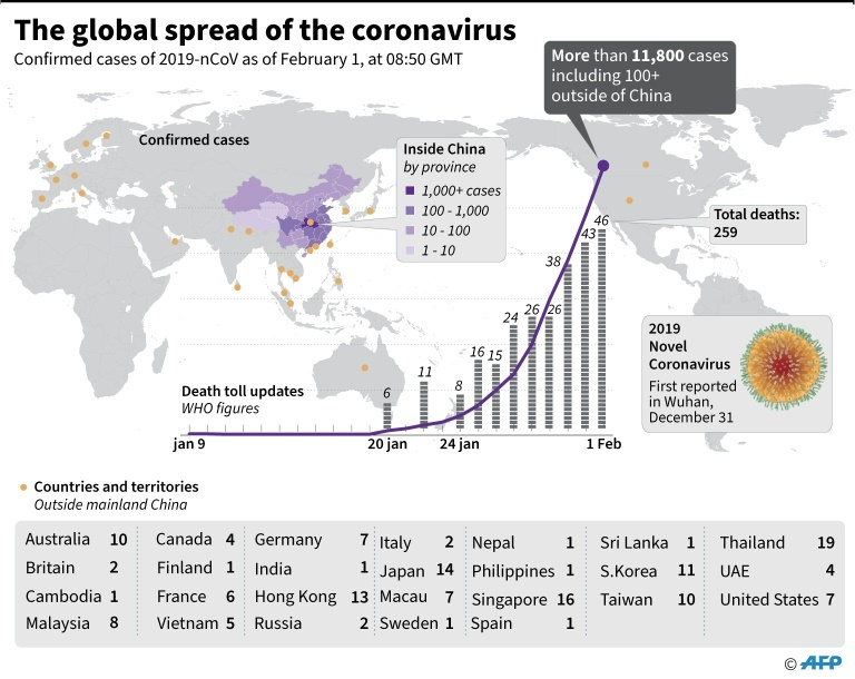 Spread of the Wuhan coronavirus