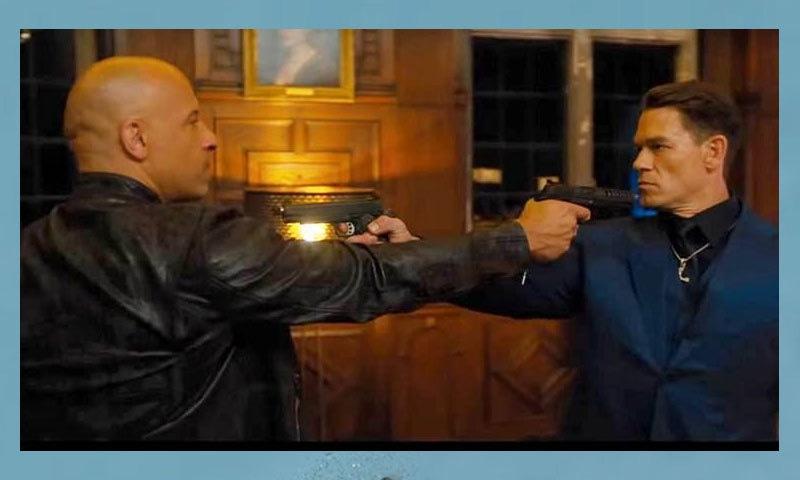 ٹریلر میں جان سینا اور ون ڈیزل کو الجھتے ہوئے بھی دکھایا گیا ہے—اسکرین شاٹ