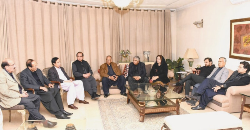 PML-Q president Chaudhry Shujaat Hussain chairing a meeting of the party on Sunday.
