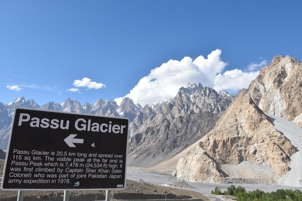 A sign for the 20.5-km-long Passu Glacier.