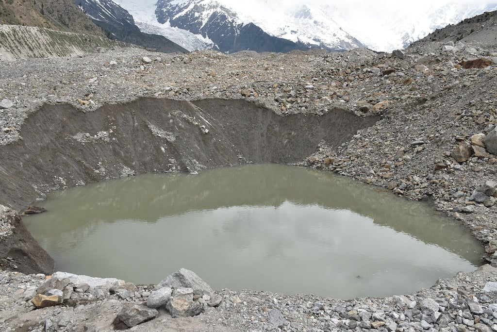 A glacial lake formed on Tarishing Glacier, Astore district.