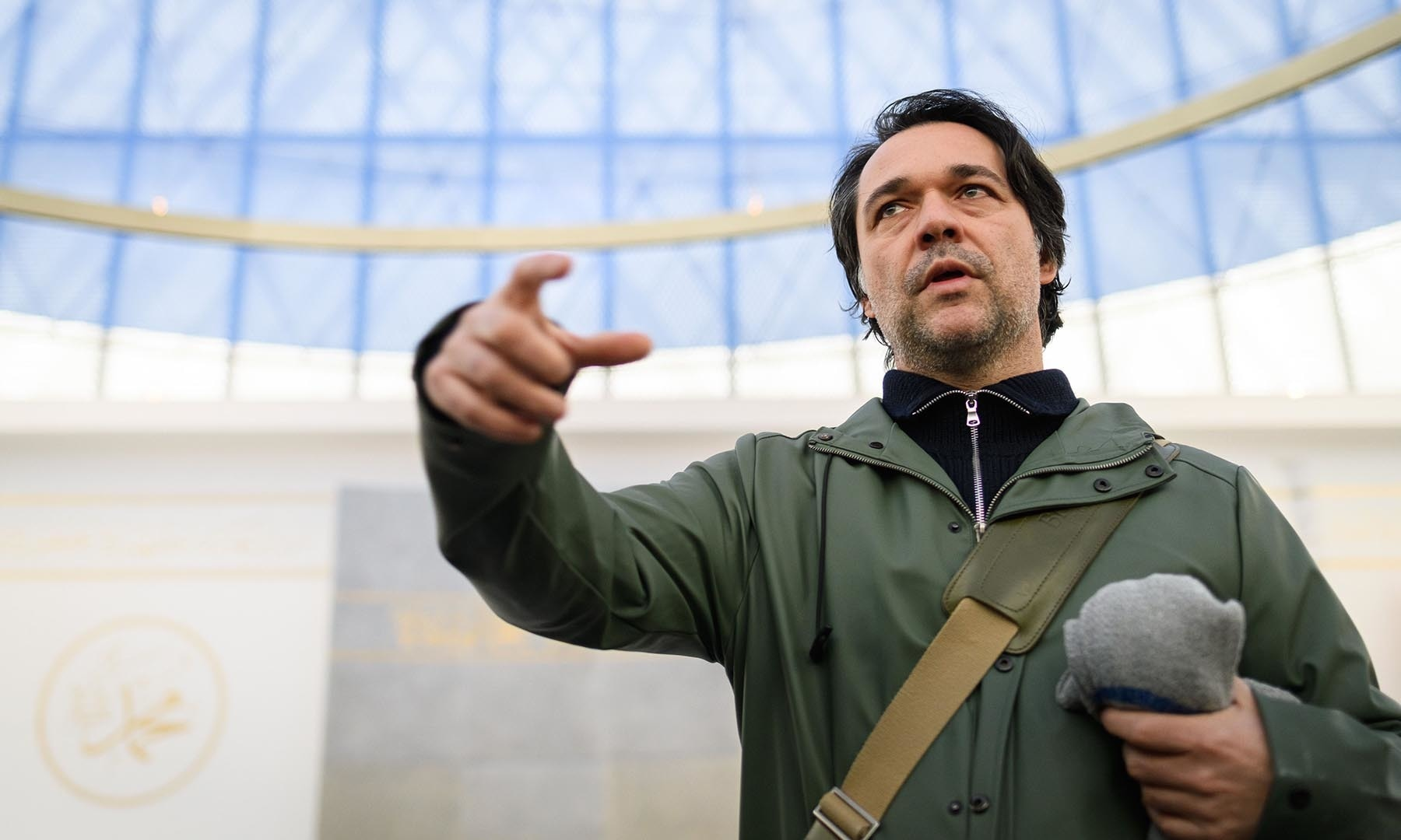 Slovenian architect Matej Bevk, of the Bevk Perovic Arhitekti architecture firm that designed the mosque, addresses the media on February 3.  — AFP