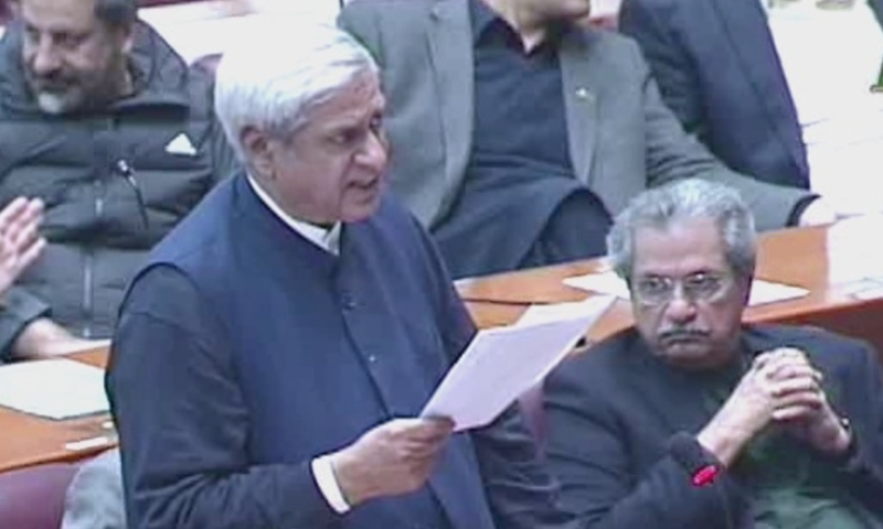 Chairman of Special Committee on Kashmir Syed Fakhar Imam tabled the resolution in the assembly. — DawnNewsTV