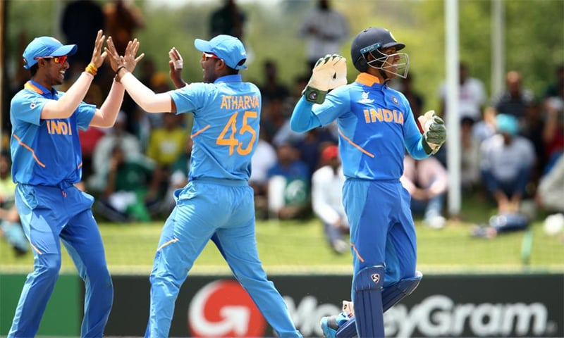 Indian players celebrate after Pakistan were bowled out for 172 in the U-19 World Cup semi-final. — Photo courtesy Cricket World Cup Twitter account