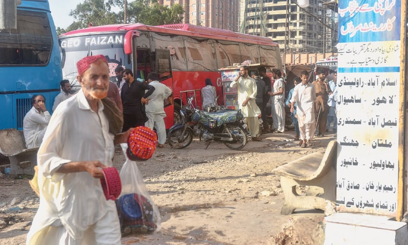 While the provincial administration is still at the preliminary stage of establishing an intercity bus terminal along the M9, several illegal terminals continue to operate in the city, as see here in Saddar in this file photo.—White Star