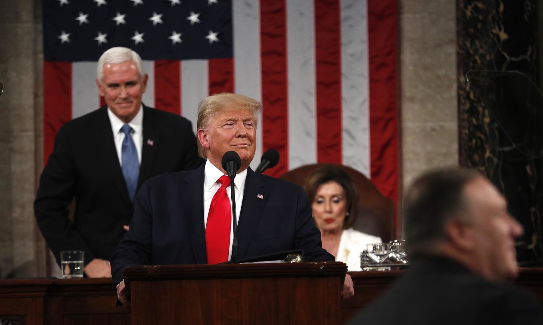 US President Donald Trump's arrives at the podium to deliver his State of the Union address to a joint session of the US Congress in the House Chamber of the US Capitol in Washington, DC, on February 4. — Reuters