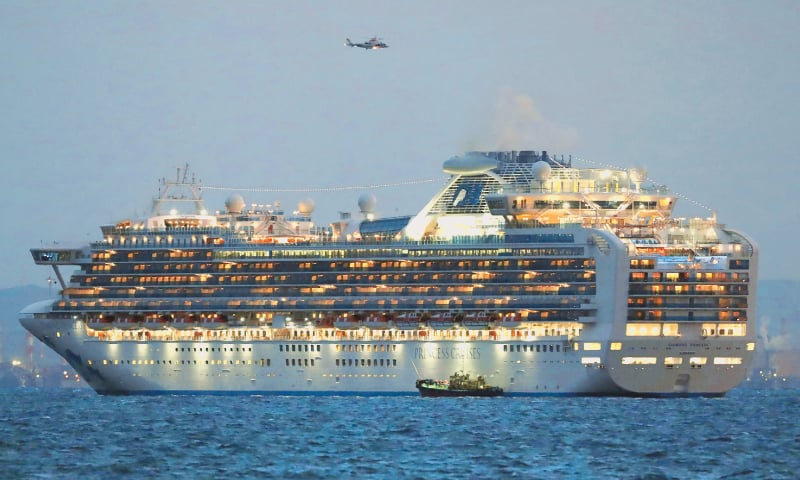 Yokohama: A cruise ship sits anchored in quarantine off the port of Yokohama on Tuesday, a day after it arrived with passengers feeling ill. Japan has quarantined the Diamond Princess, which is carrying 3,711 people, and is testing those onboard for the new coronavirus. A passenger who left Hong Kong tested positive for the virus.—AFP