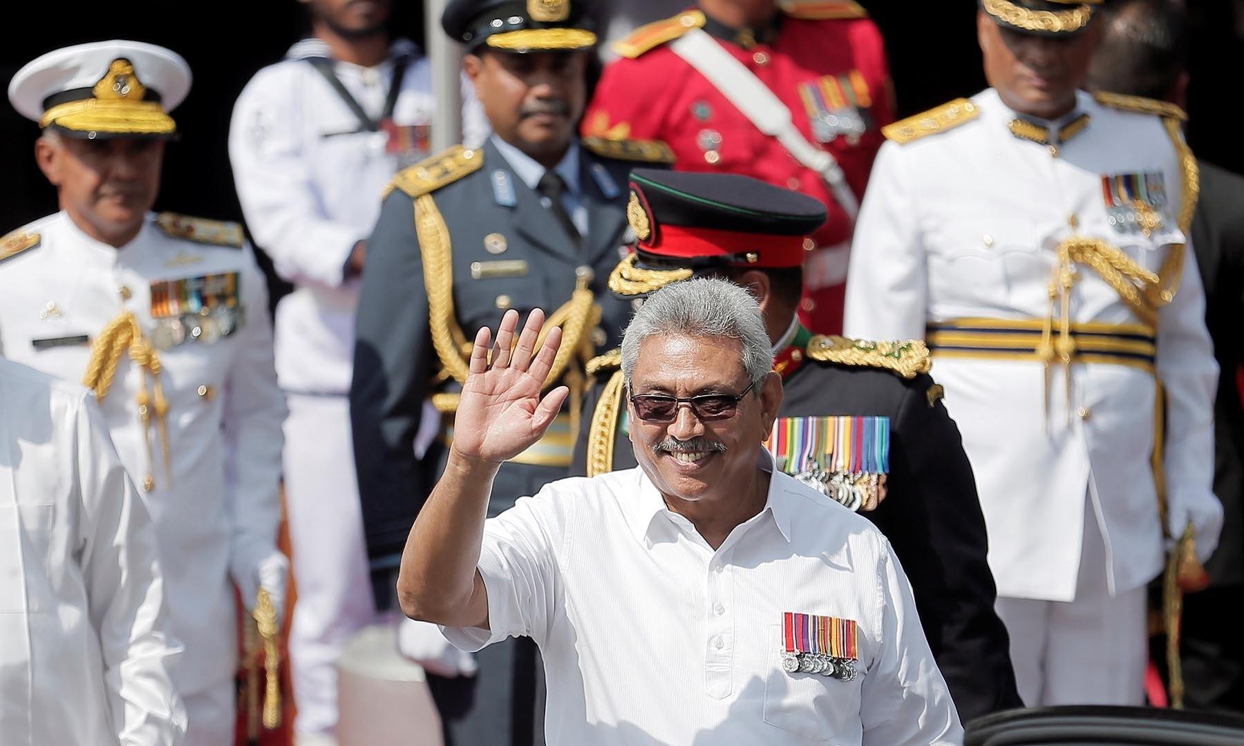 Sri Lanka's President Gotabaya Rajapaksa waves during the 72nd independence day ceremony, in Colombo, Sri Lanka on February 4. — Reuters