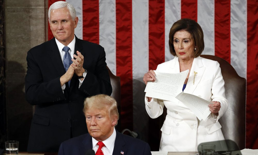 House Speaker Nancy Pelosi of California tears her copy of US President Donald Trump's State of the Union address after he delivered it to a joint session of Congress Tuesday. — AP