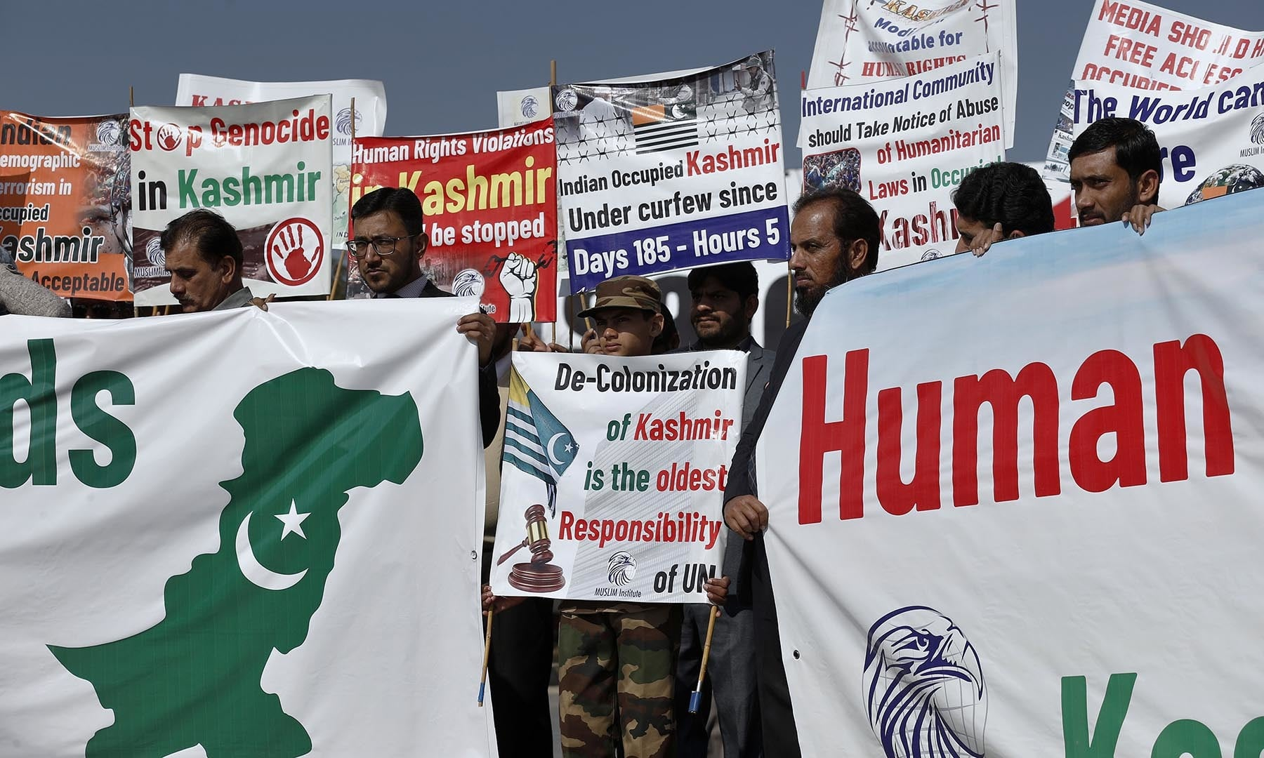 People take part in a rally in Islamabad to express solidarity with Kashmiris. — AP