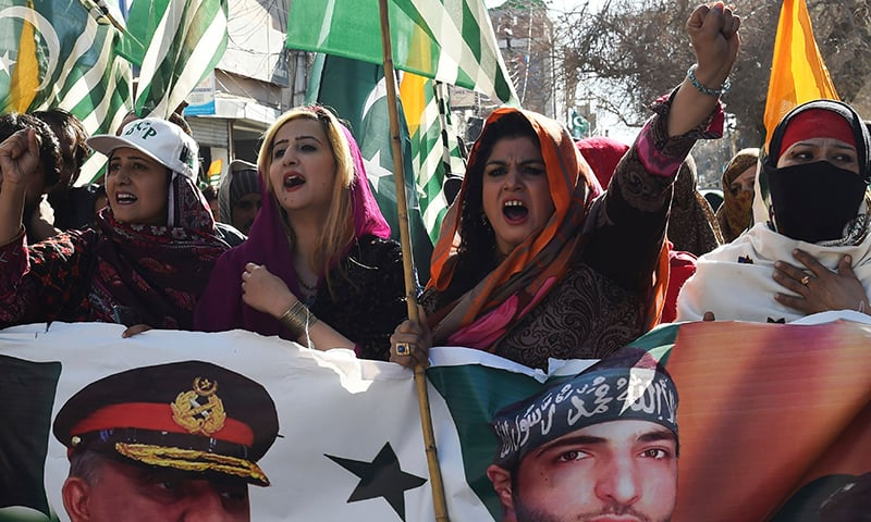 Protesters shout anti-Indian slogans during a demonstration to mark Kashmir Solidarity Day, in Quetta on February 5. — AFP