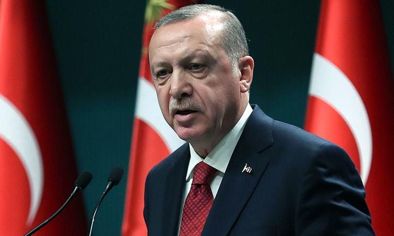 ترک صدر آخری مرتبہ 2016 میں مسلم لیگ (ن) کے دورِ حکومت میں پاکستان آئے تھے—فائل فوٹو: اے ایف پی