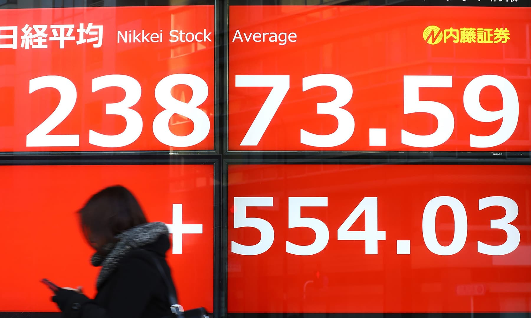 A pedestrian walks past a stock indicator displaying share prices on the Tokyo Stock Exchange on February 6. — AFP