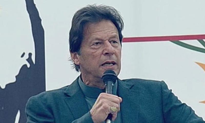 Prime Minister Imran Khan addressing Kashmiris in Mirpur on Thursday. — DawnNewsTV