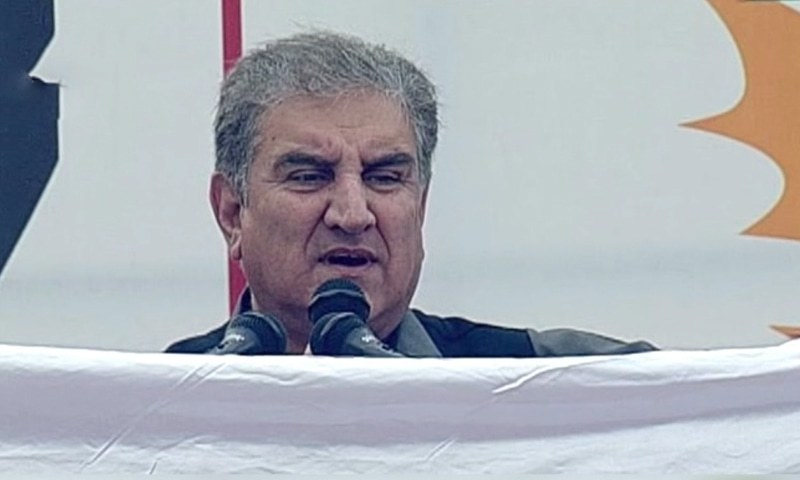 Foreign Minister Shah Mahmood Qureshi addressing a Kashmir Solidarity rally in Mirpur on Thursday.