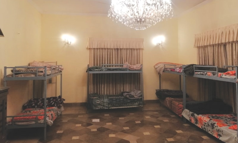 LAHORE: A view of a room in Ishaq Dar's house that has been turned into a Panahgah (shelter home). The Lahore city district government took possession of the former fi nance minister's fi ve-kanal house in Gulberg in July after the National Accountability Bureau seized Mr Dar's assets.—Aun Jafri / White Star