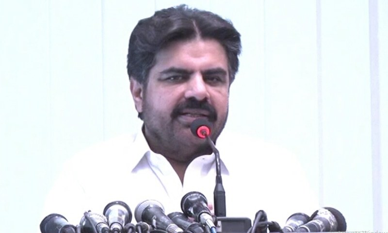 Sindh Minister for Local Government Syed Nasir Hussain Shah addresses media on Saturday. — DawnNewsTV