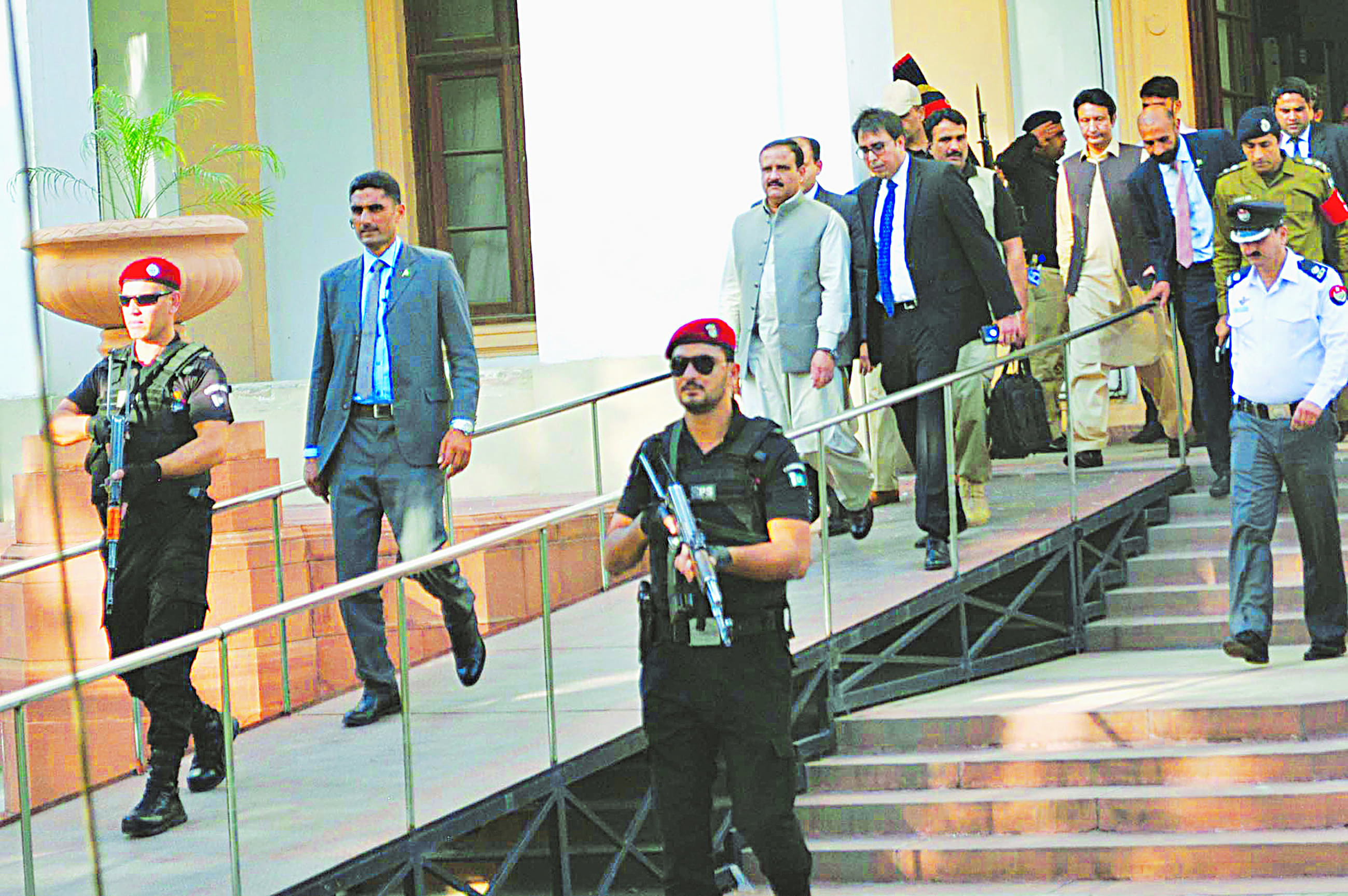 Chief Minister Usman Buzdar leaves the Punjab Assembly after attending a budget session | M.Arif/White star