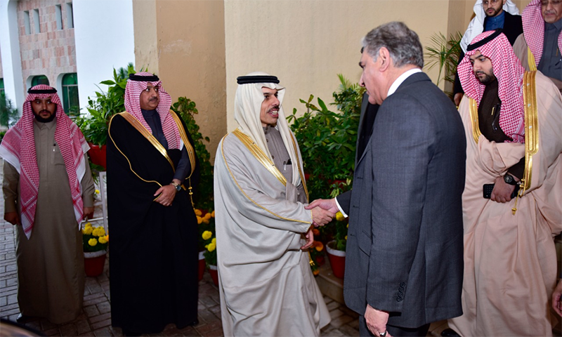 Saudi Foreign Minister Faisal bin Farhan Al Saud on Saturday called Foreign Minister Shah Mehmood Qureshi to reassure him of Saudi support for Kashmir.  — Photo provided by Naveed Siddiqui/File