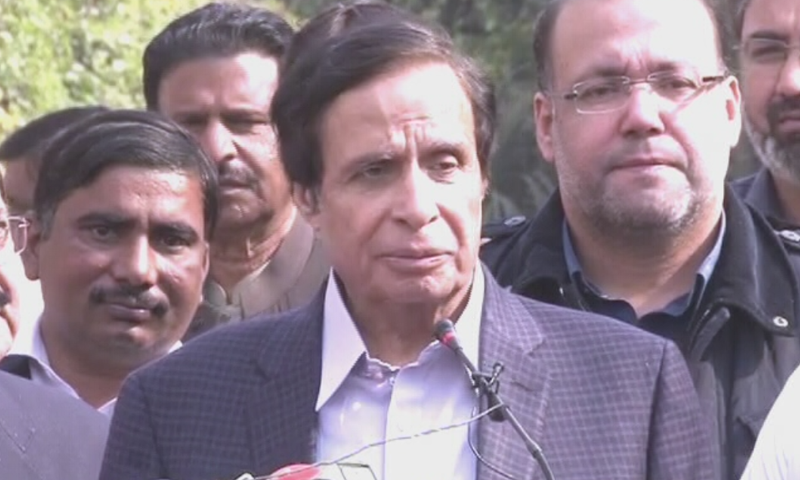 PML-Q leader Pervez Elahi speaks to the media in Lahore. — DawnNewsTv
