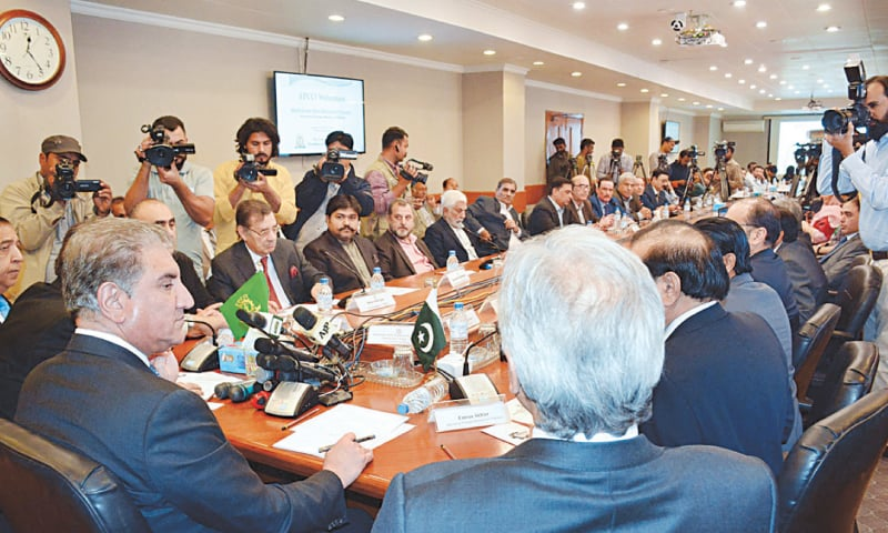 FOREIGN Minister Shah Mehmood Qureshi addressing the business community at the FPCCI head office on Monday.—APP