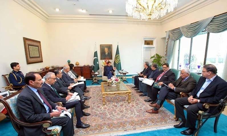 Prime Minister Imran Khan on Monday held a meeting with his economic team and high-ups of social safety nets. The meeting discussed several plans to give relief to the poor through the targeted subsidy. — Photo courtesy Radio Pakistan
