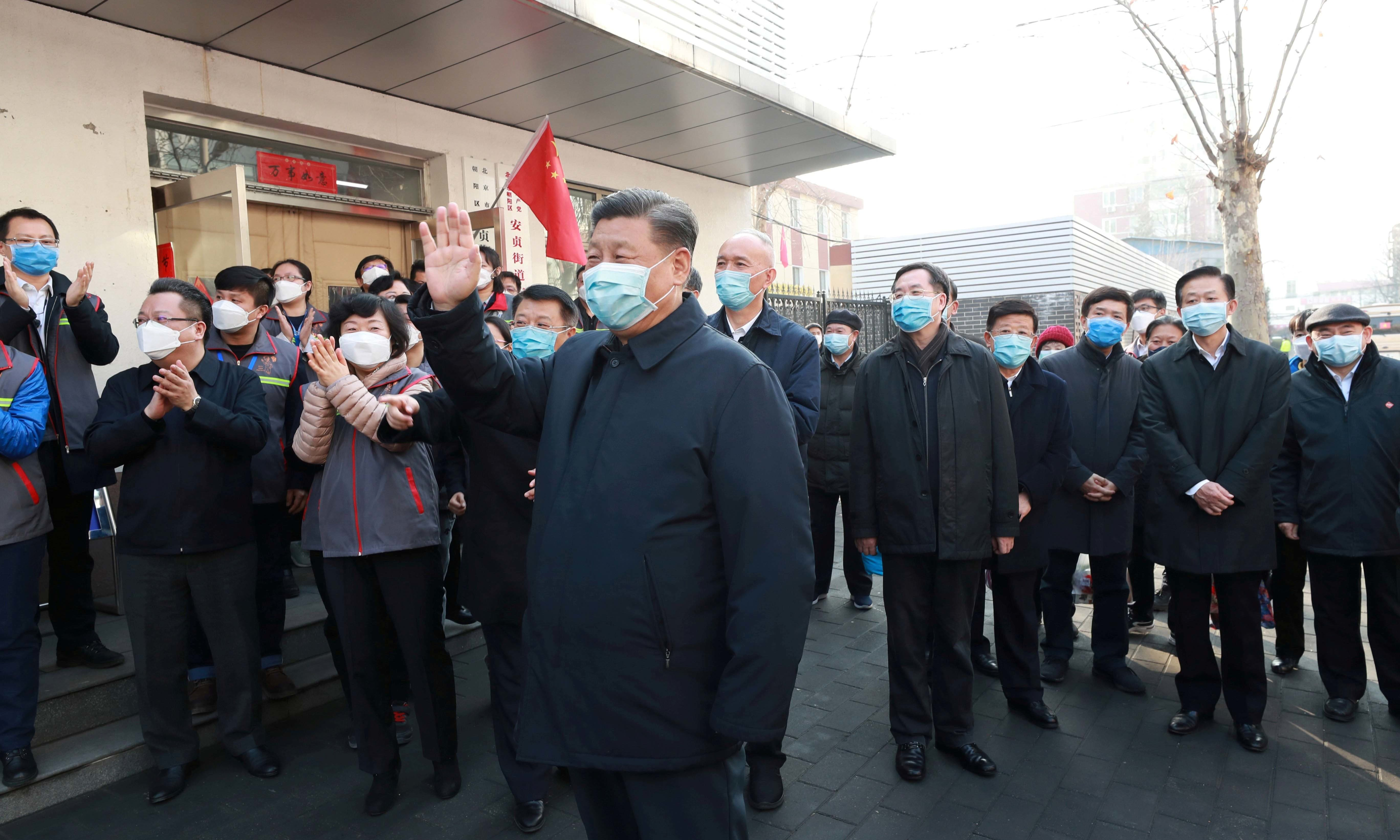 Chinese President Xi Jinping inspects the novel coronavirus prevention and control work at Anhuali Community in Beijing, China, on February 10. — Xinhua via Reuters