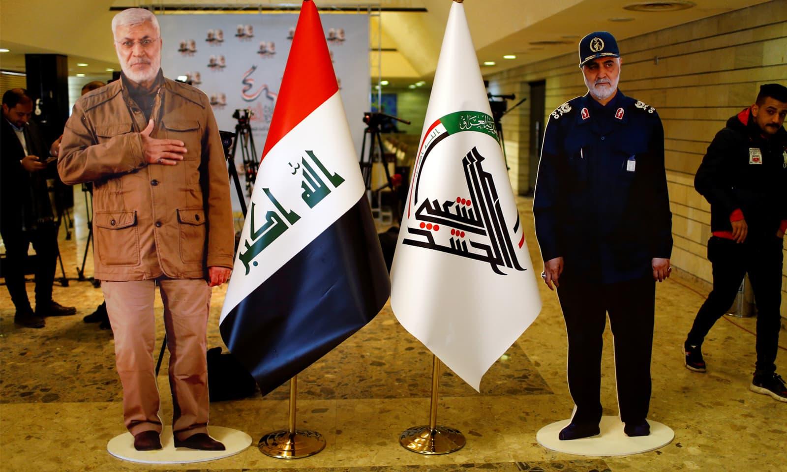 تہران کے ایئرپورٹ پر القدس کے مقتول سربراہ جنرل قاسم سلیمانی کا مجسمہ لگایا گیا—فوٹو: رائٹرز