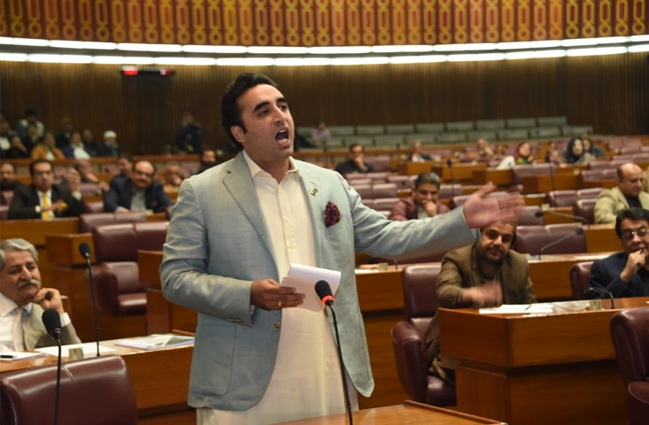 ISLAMABAD: Pakistan Peoples Party chairman Bilawal Bhutto-Zardari speaks during the session on Tuesday.