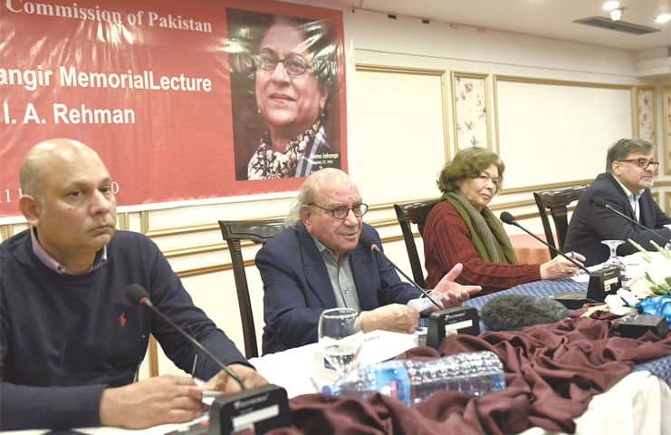 ISLAMABAD: HRCP secretary general Harris Khalique, honorary spokesperson I. A. Rehman and others attend the first Asma Jahangir Memorial Lecture.—Tanveer Shahzad/White Star
