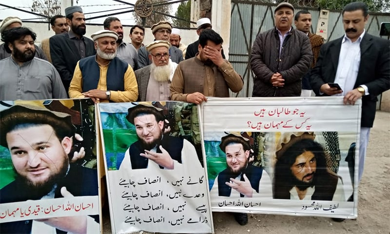 Families of students martyred during the Army Public School massacre staged a protest on Wednesday against the mysterious escape of former Tehreek-i-Taliban Pakistan (TTP) spokesman Ehsanullah Ehsan. — Photo by author