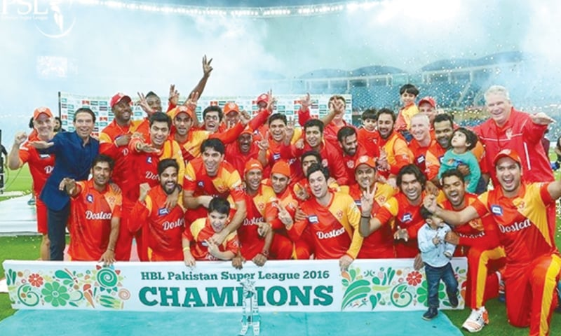 Islamabad United winning the first PSL title in 2016