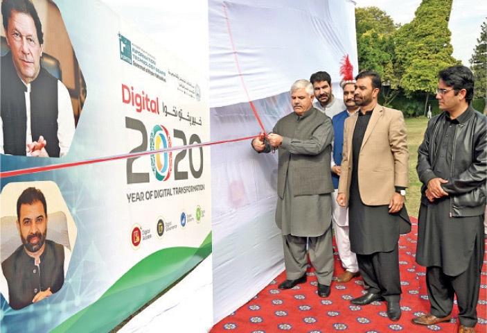 KP Chief Minister Mahmood Khan inaugurates the digital transformation logo in Peshawar on Wednesday.