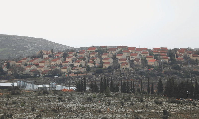A view of a Jewish settlement from a Palestinian village near Ramallah, in the Israeli-occupied  West Bank.—Reuters