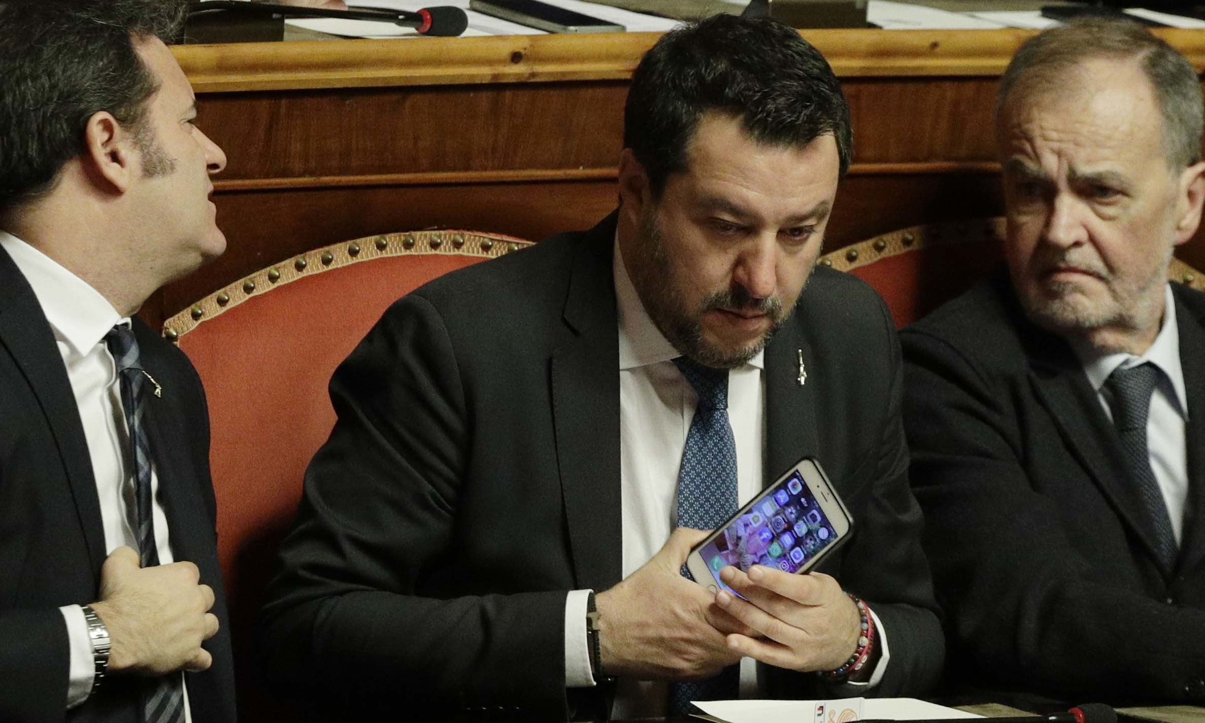 Opposition populist leader Matteo Salvini attends the debate at the Italian Senate on whether to allow him to be prosecuted — as he demands to be — for alleging holding migrants hostage for days aboard coast guard ship Gregoretti instead of letting them immediately disembark in Sicily, while he was interior minister. — AP